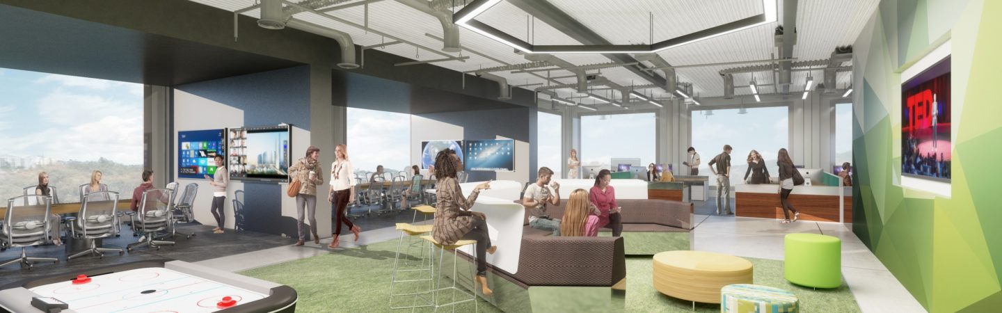 Rendering of a hypothetical UCI Research Park workspace in Irvine, CA