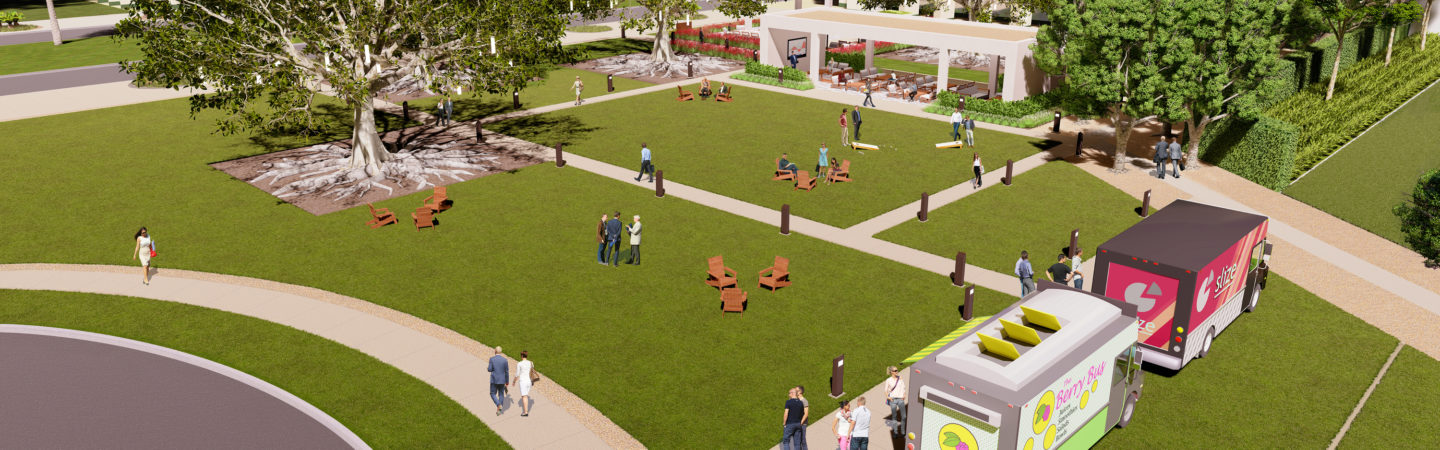 Rendering of The Commons reinvestment, a refreshed outdoor workspace and gathering area for Jamboree Center in Irvine, CA