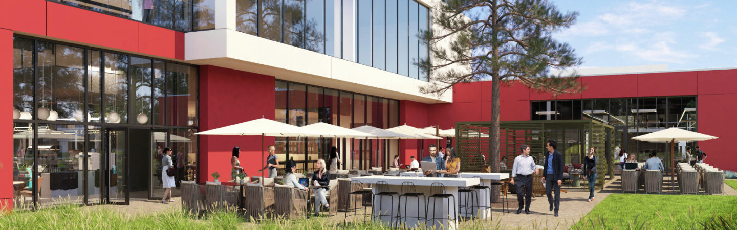 Rendering of the outdoor dining area by the cafe at Pathline Park in Sunnyvale, CA