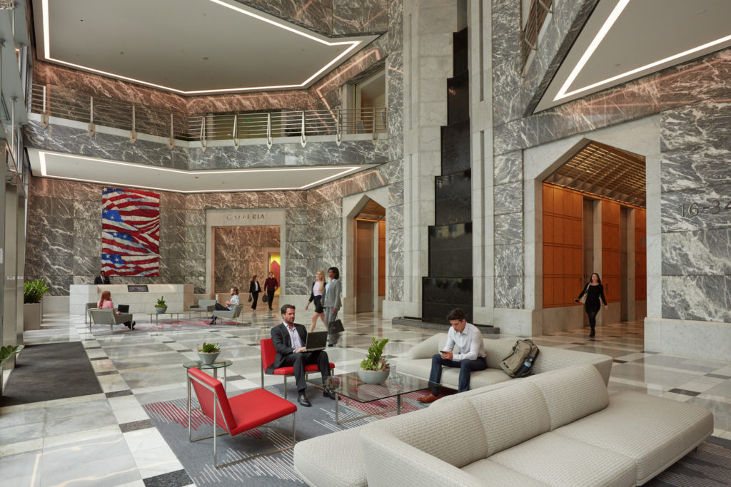 Lifestyle photography of the interior lobby of One America Plaza