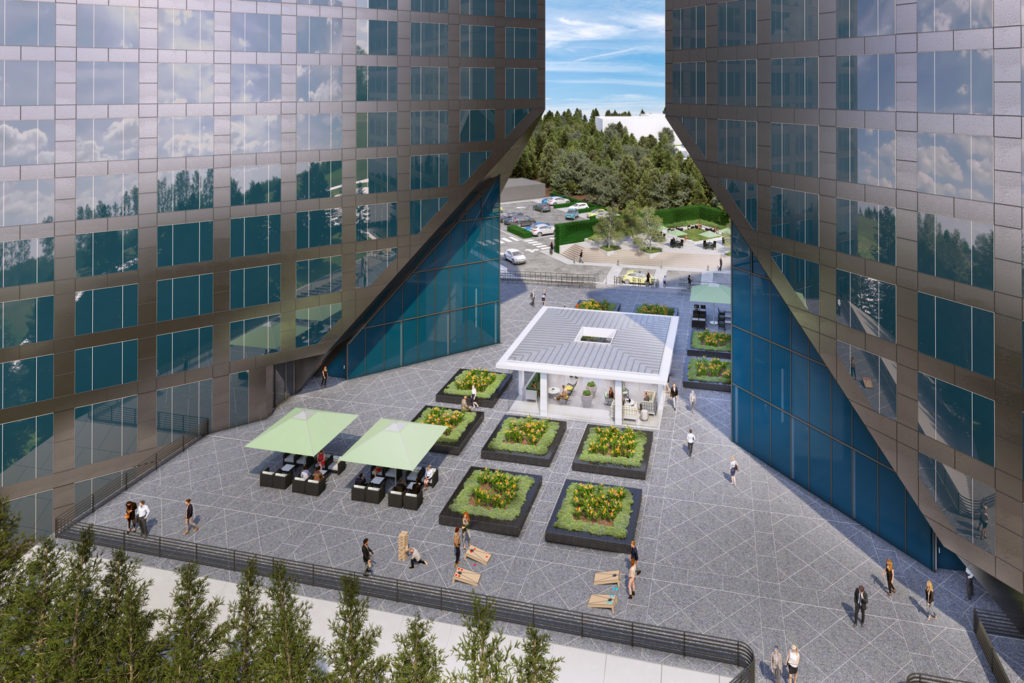 Rendering of The Commons reinvestment at Newport Gateway in Irvine, CA